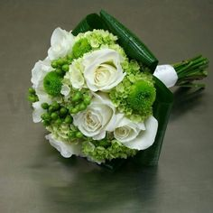 A Perfectly Arranged Green & White Bouquet: White Roses, Green Button Mums, Green Snowball Viburnum, Green Hypericum Berries & Beautiful Emerald Glossy Aspidistra Leaves~~~~