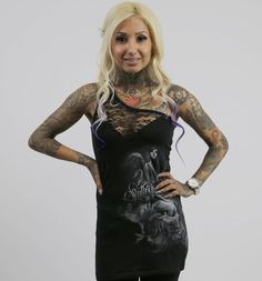 Sullen Angels Solo Shoulder Black Lace Women's Top: This sexy single-shoulder-strap top features lace detail up above a heart neckline and printed artwork by Big Gus and Ryan Smith along the front side. Available in sizes XS-XL. Retail Price: $29.99