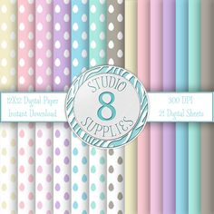 INSTANT DIGITAL DOWNLOAD - 12X12 Pastel Polka Eggs & Solid Color Variety Pack - 21 Sheets - One-of-a-kind Design by Studio 8 Supplies by studio8supplies on Etsy