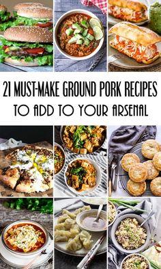 Ground Pork Sausage Recipes, Ground Pork Recipes Easy, Pork Recipes For Dinner, Lamb Recipes, Entree Recipes, Recipe Using Ground Pork, Pork Dishes, Cooking Recipes, Drink Recipes