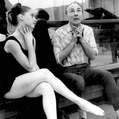 Suzanne Farrell and George Balanchine during rehearsals for Movements for Piano and Orchestra. 1965.  Photo by Fred Fehl.