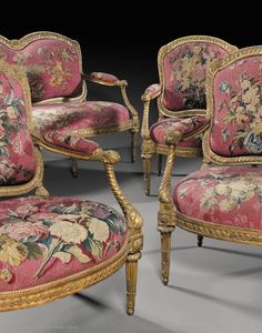 """fauteuil à la reine"" style armchairs comes from the château of La Roche-Guyon (Val d'Oise), which was redecorated by the Duchess of Anville between 1764 and"
