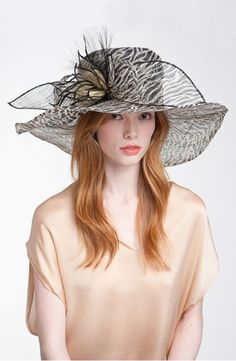 Natasha Couture Zebra Derby Hat available at Nordstrom Bonnet Hat, Wide-brim Hat, Hats For Women, Clothes For Women, Ladies Hats, Fancy Hats, Big Hats, Women's Hats, Beauty And Fashion