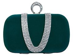 6f4b1c59576 Chicastic Green Suede Velvet Rhinestone Stud One Ring Knuckle Duster Evening  Cocktail Clutch Bag Green Purse