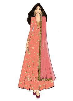 Online shop for made to measure Indian women's salwar kameez dress and designed by Vanditha Jain for EthnoVogue. Ethnic Fashion, Indian Fashion, Fashion Art, Fashion Models, Dress Design Sketches, Fashion Design Drawings, Fashion Illustration Sketches, Fashion Sketches, Fashion Drawing Dresses