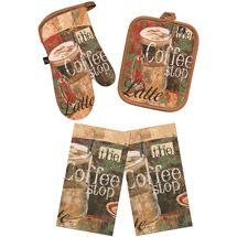 walmart studio art coffee shop 3 piece kitchen towel and pot holder set - Cork Cafe Decor