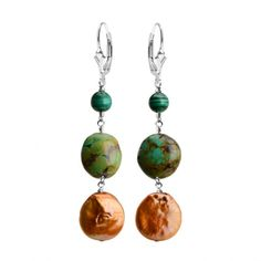 Coin Pearl, Turquoise and Malachite Sterling Silver Earrings