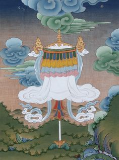 Victory Banner by Tashi Dhargyal Buddhist Symbols, Buddhist Art, Tibetan Art, Tibetan Buddhism, Thangka Painting, Visionary Art, Silk Painting, Religious Art, Tribal Art