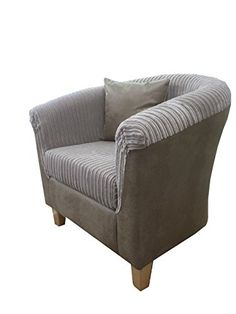 luxury traditional shape tub chair in beige snake surround and jumbo mink cord