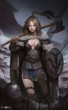 The Viking Girl, Banjiu E'vik on ArtStation at https://www.artstation.com/artwork/xN9L2