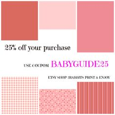 Etsy Shop #Coupon For My Practical Baby Guide Customers.  25% OFF your purchase at #Etsy #Shop #2RABBITS #PRINT & #ENJOY