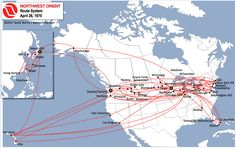 Northwest Orient Airlines' route network in Spring-Summer 1970, just as their first 747 aircraft were being delivered.