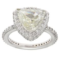 14k White Gold 4ct TDW Trillion-cut Diamond Band Estate Engagement Ring (L-M, SI1-SI2) | Overstock.com Shopping - Top Rated Estate and Vintage Rings