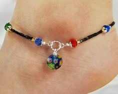 Anklet Ankle Bracelet Millefiori Dangle Red by ABeadApartJewelry Beaded Anklets, Beaded Jewelry, Beaded Necklace, Ankle Braclets, Bracelets, Bracelet Making, Jewelry Making, Ankle Jewelry, Ankle Chain