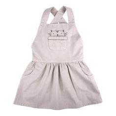 Emile et Ida Cat Pocket Dungaree Dress Light grey - Kids fashion - Smallable