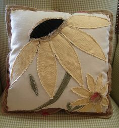 Reclaimed Feed Seed Coffee Sack Pillow Floral Black Eye Susan 15 Inch...SALE: $39...MORE INFO? Call 828-414-9700. by CURIOSITY. For You. Home. Garden., via Flickr Raw Edge Applique, Wool Applique, Embroidery Applique, Sewing Pillows, Diy Pillows, Decorative Pillows, Throw Pillows, Felt Pillow, Quilted Pillow