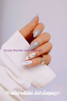 25 Marble Nail Design with Water & Nail Polish 2 - Marble Nails for You - Nageldesign Marble Nail Designs, Marble Nail Art, Nail Art Designs, Red Nails, Hair And Nails, Chrom Nails, Water Nails, American Nails, Nail Polish