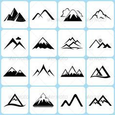 16 Mountain Icons Set  #GraphicRiver
