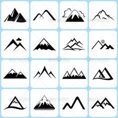 16 Mountain Icons Set #GraphicRiver