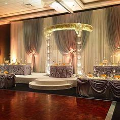 Half Floral Gazebo used as Reception Decor @chicagomarriottschaumburg ! #receptiondecor #weddinginspiration #weddingazebo #weddingdecoration Head Tables, Head Table Decor, Table Decorations, Wedding Decorations, Wedding Backdrops, Luxury Wedding, Wedding Events, Gazebo, Wedding Designers