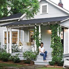 New Exterior Cottage Colors Bungalows Front Porches Ideas Cottage Porch, Cottage Exterior, Cottage Living, Cozy Cottage, Cottage Homes, House Porch, Bungalow Porch, Lakeside Cottage, Porch Roof