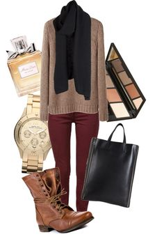 I have similar pieces in my closet! Taupe knit sweater, black circle scarf, oxblood pants, brown combat boots, black tote, rose gold watch.