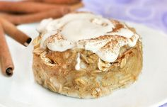 """Cinnamon Roll Baked Oatmeal (no flour - just baked oatmeal and sweetened with stevia). """"Frosting"""" on top is healthy too!"""