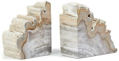 One Kings Lane Set of 2 Petrified-Wood Bookends - Light Wood