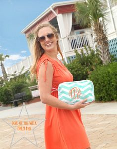 DEAL OF THE WEEK!! **ONLY $10!!!** This popular, everyday accessory bag is a must have this summer! Matching our summer lounge collections you can easily move it from purse to beach bag or to the overnight bag. Personalization not included with the deal of the week. Get yours at http://thepreppypair.storenvy.com/products/5715514-mint-chevron-accessory-bag-deal-of-the-week