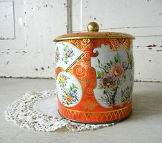 Vintage Tin with Asian Floral Blossom Motif in Orange and Gold