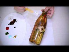 YouTube Decoupage, Mixed Media Collage, Bottle Art, Youtube, Diy, Bottles, Decorated Bottles, Portion Plate, Stuff Stuff