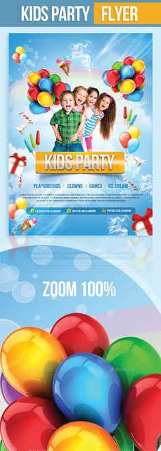 Kids Party Flyer — Photoshop PSD #cute flyer #child shop • Available here → https://graphicriver.net/item/kids-party-flyer/9358547?ref=pxcr