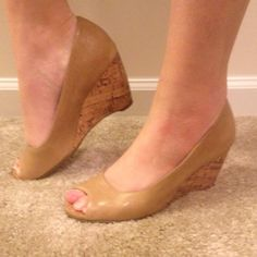 Nude/brown peep toe wedges Dark nude peep toe wedges. Worn very few times but very comfortable. No noticeable scratches/flaws. AEROSOLES Shoes Wedges