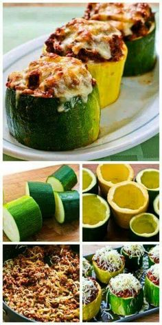 Recipe for Meat, Tomato, and Mozzarella Stuffed Zucchini Cups, making them into cups like this is a great use for those monster zucchini that show up in the fall when the garden is winding down! [from (Cheese Making Cups) Veggie Dishes, Vegetable Recipes, Meat Recipes, Paleo Recipes, Cooking Recipes, Recipies, Tapas Recipes, Healthy Dinner Recipes, Zucchini Cups