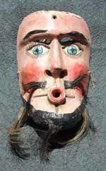 vintage wooden/horse hair vaquero mask, Guerrero, Mexico