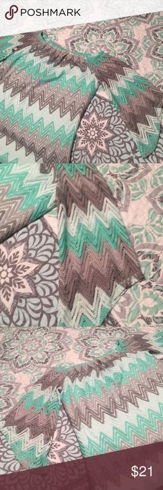 Beautiful lace chevron top NWOT mint and gray chevron , lining on shirt but the sleeves r not lined . tacera Tops Blouses
