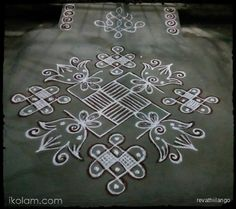 Rangoli 13 to 1 straight dots.: Rev's padi, swastik, chikku, & flower all in one kolam. by revathiilango Rangoli Borders, Rangoli Border Designs, Rangoli Patterns, Kolam Rangoli, Indian Rangoli, Rangoli Designs Latest, Henna Art Designs, Rangoli Designs Images, Beautiful Rangoli Designs