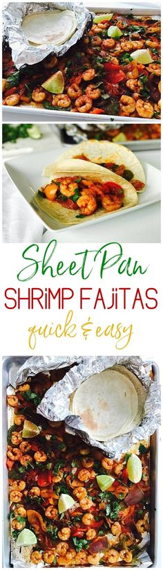 Quick and Easy One Sheet Pan Baked Shrimp Fajitas Lunch or Dinner Recipe - Use it in tacos, meal prep bowls, or over rice or noodles. So versatile and the flavor is so yummy you'll want to eat the entire pan by itself! via Dreaming in DIY
