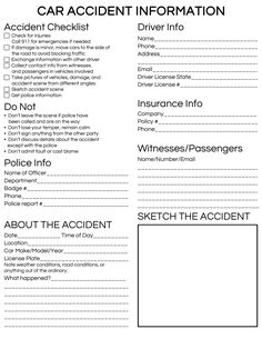 Be prepared for an emergency. This printable Car Accident Checklist is going in each one of our cars. Great idea for a new teen driver! Emergency Binder, Emergency Preparedness Kit, Emergency Preparation, Survival, Car Facts, Car Care Tips, Teen Driver, Car Essentials, New Teen