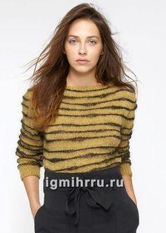 Желто-черный пуловер в полоску. Вязание спицами