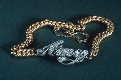A bracelet with the name 'Amy' recovered from the RMS Titanic. I saw this gold and diamond bracelet at one of the Titanic artifact exhibits.