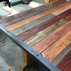 rustic table using wood and metal
