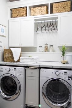 DIY Laundry Room Decor Ideas and Design (Easy, Cute, Fun) - Phenomenica Laundry Room Countertop, Laundry Room Cabinets, Laundry Room Bathroom, Small Laundry Rooms, Laundry Room Organization, Laundry Room Design, Laundry Storage, Laundry Closet Makeover, Laundry Decor