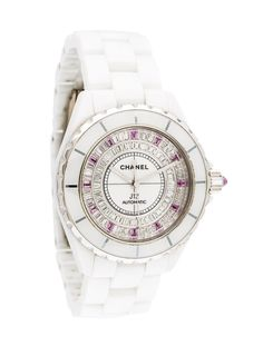 white gold and ceramic Chanel watch featuring an automatic movement, fixed bezel, matte white dial and link bracelet with double deployant clasp. Includes box, instruction manual and undated warranty Chanel Watch, Chanel J12, Vintage Earrings, Vintage Jewelry, Limited Edition Watches, Handbags Online, Chanel Handbags, Vintage Chanel, Link Bracelets