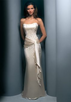 Elegant Sheath No Train Charmeuse Luxury Wedding Gowns In Our Garment