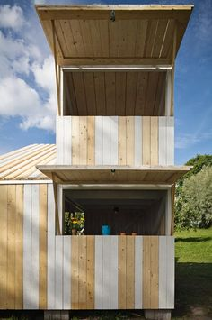 If we ever keep NPC costumes on site this would be perfect. Anna and Eugeni Bach, Wood Playhouse with Finnish construction, Remodelista Backyard Playhouse, Build A Playhouse, Playhouse Ideas, Outdoor Playhouses, Cubby Houses, Play Houses, Outside Activities For Kids, Tiny House, Shed Of The Year