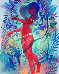 Newest piece! Finally managed to finish this one, yay! Uncropped version on blog.loish.net :) #art #artistsofinstagram #illustration #drawing #painting #photoshop #digitalart #plants #jungle #red #turquoise #girl