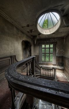 inside an abandoned mansion