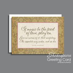 Romantic Valentine, Shakespeare quote, If Music Be Food Of Love, Valentine card, romantic anniversary, Shakespeare card, romantic birthday by Parachute425 on Etsy