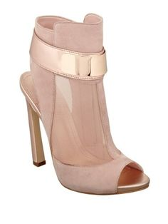 Update your bootie section with something that won't let you down. - GUESS Women's Anavey Peep-Toe Mesh Light Pink Suede Booties